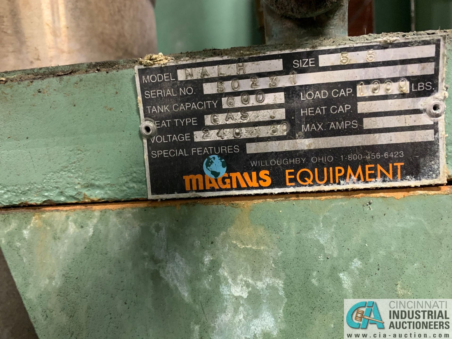 MAGNUS MAGNA-LIF MODEL MALH SIZE 5.5 DIP TYPE WASHER; S/N 50231, 600 GALLON TANK, 1,000 LB. CAPACITY - Image 8 of 8
