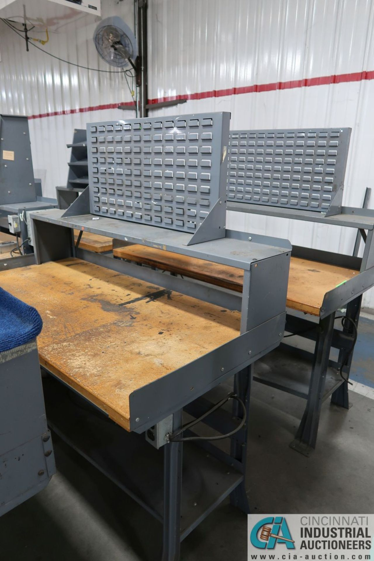"""30"""" X 60"""" X 34"""" HIGH STEEL FRAME MAPLE TOP WORKSTATIONS WITH MOUNTED RISERS - Image 3 of 3"""
