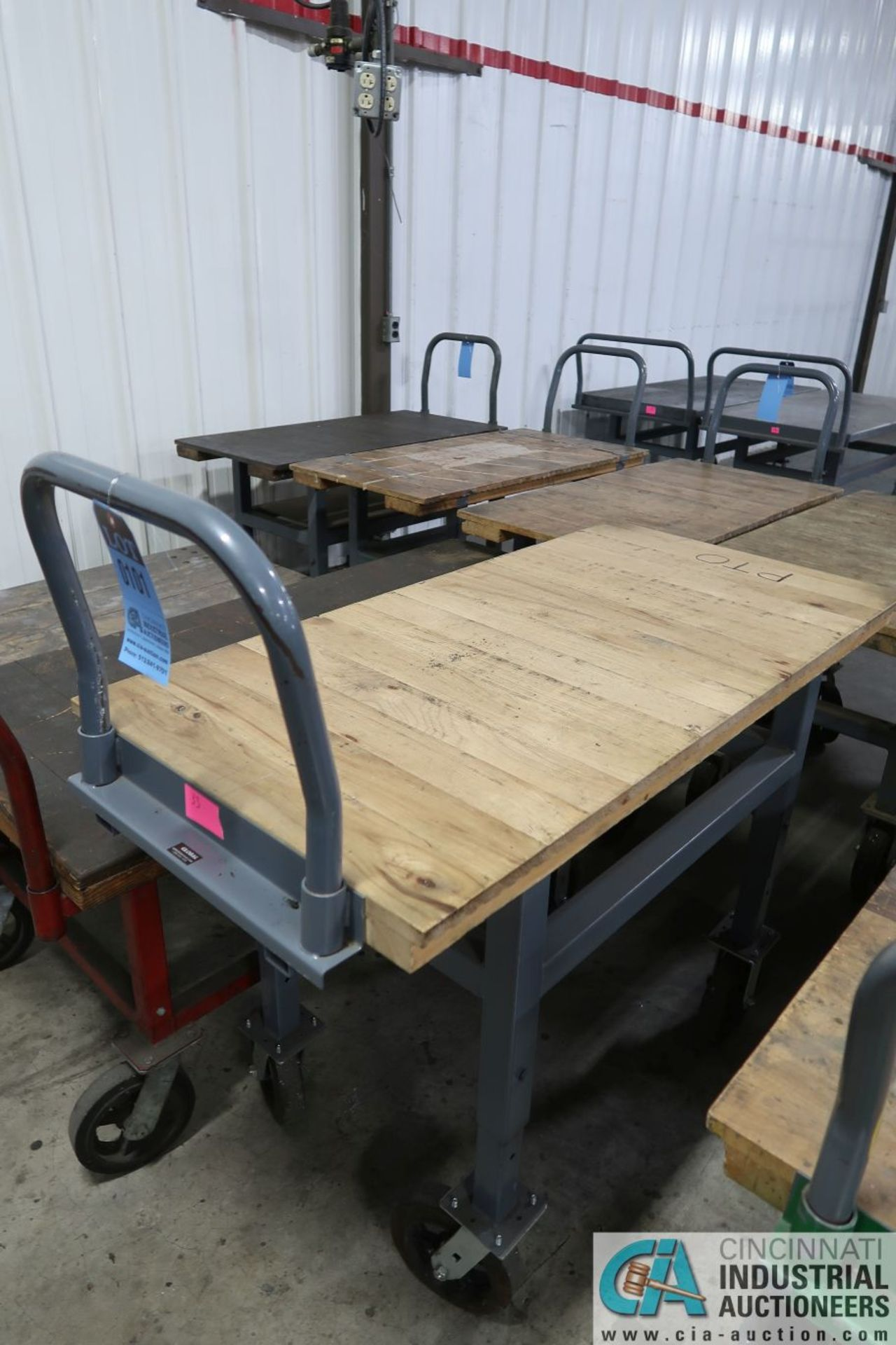 "STEEL FRAME HARDWOOD DECK CARTS, (1) 24"" X 48"" ADJUSTABLE HEIGHT AND (1) 30"" X 60"" X 26"" HIGH - Image 2 of 2"
