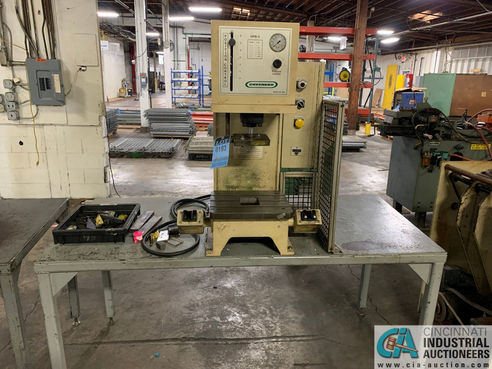 5 TON GREENERD HPB-5 HYDRAULIC PRESS; S/N T5935 (NEW 2000) WITH TABLE - Image 6 of 6