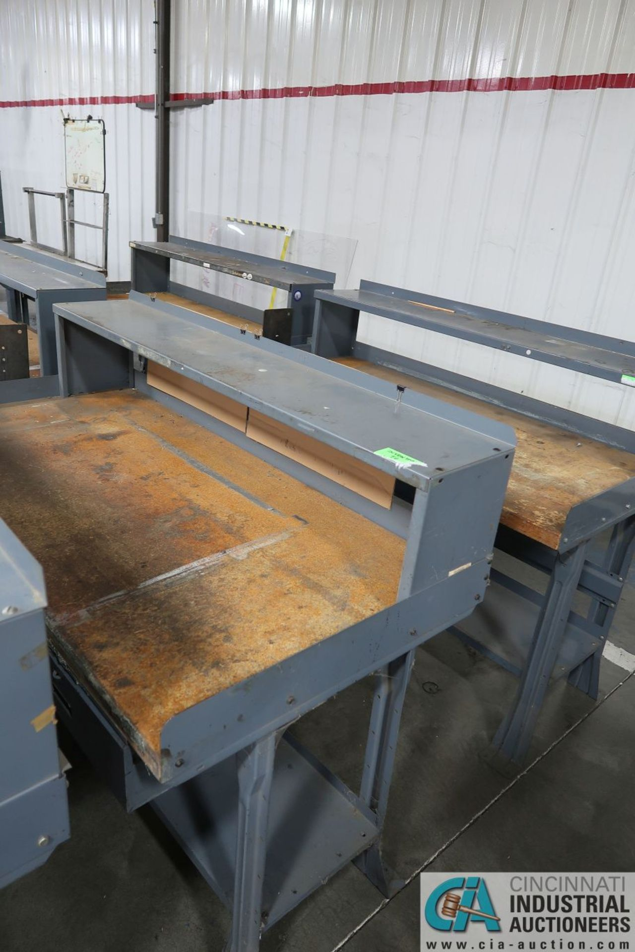 """30"""" X 60"""" X 34"""" HIGH STEEL FRAME MAPLE TOP WORKSTATIONS WITH MOUNTED RISERS - Image 4 of 4"""