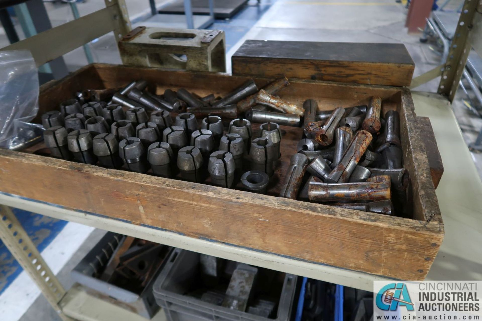 (LOT) MISCELLANEOUS DRILL INDEXES WITH REAMERS, COLLETS AND HOLDDOWNS WITH SHELVING - Image 3 of 4