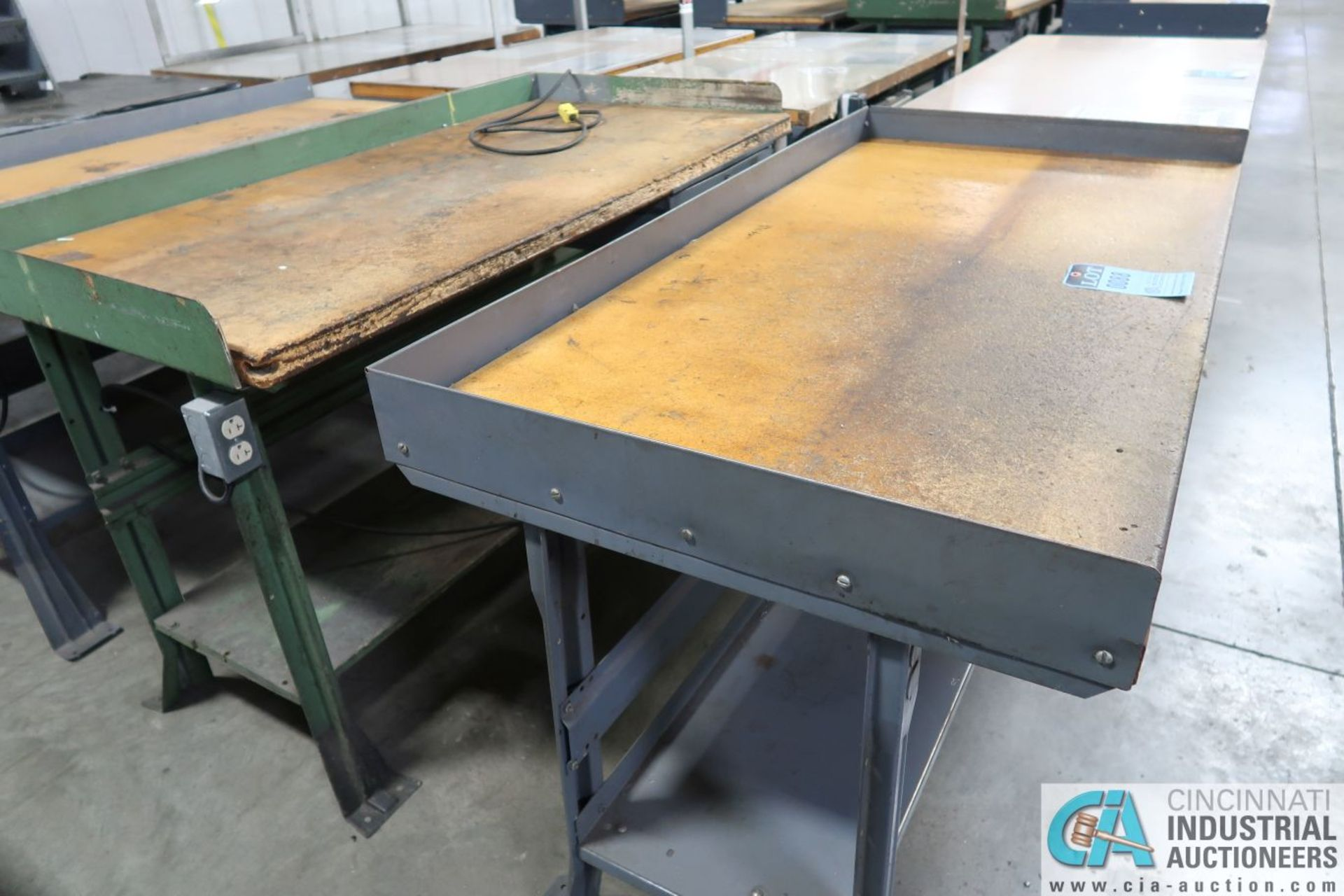 """30"""" X 72"""" X 34"""" HIGH STEEL FRAME MAPLE TOP WORK STATIONS - Image 2 of 3"""