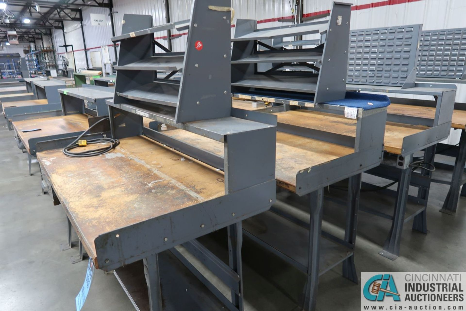 """30"""" X 60"""" X 34"""" HIGH STEEL FRAME MAPLE TOP WORKSTATIONS WITH MOUNTED RISERS - Image 2 of 3"""