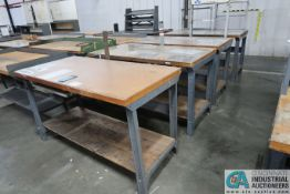 "30"" X 72"" ADJUSTABLE HEIGHT STEEL FRAME MAPLE TOP WORK STATIONS"