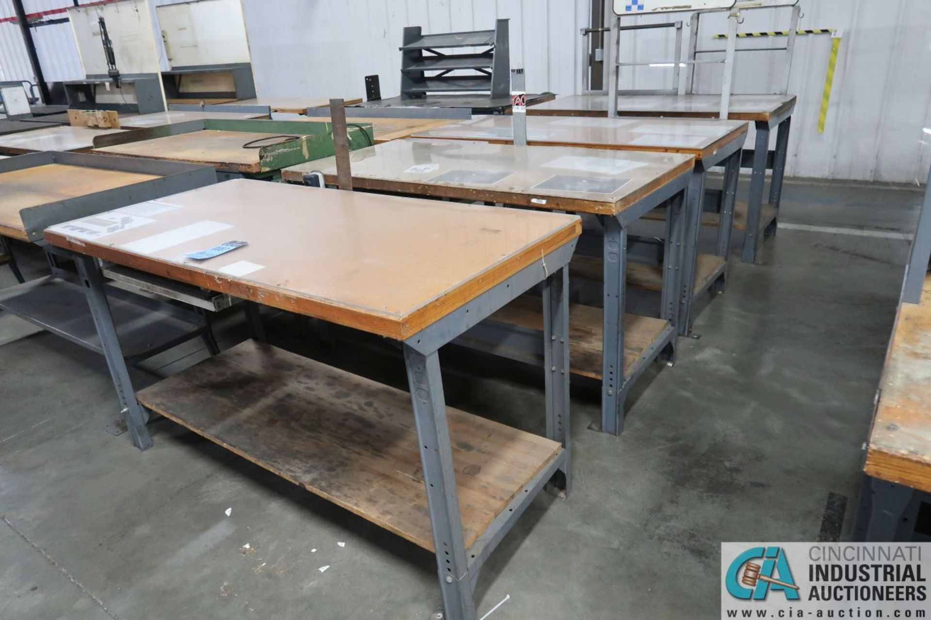 """30"""" X 72"""" ADJUSTABLE HEIGHT STEEL FRAME MAPLE TOP WORK STATIONS"""