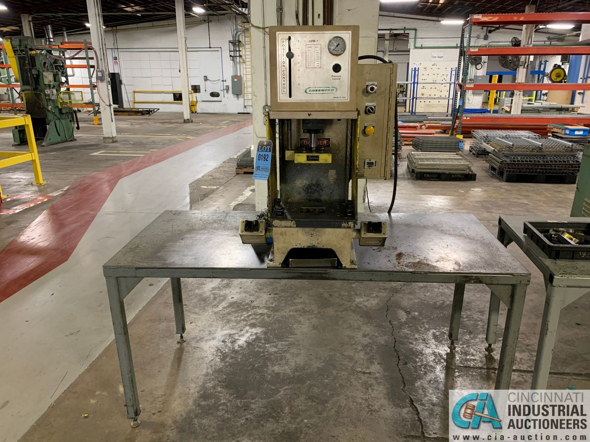 7 TON GREENERD MODEL HPB-7 HYDRAULIC PRESS; S/N OOT5953, WITH TABLE (NEW 2000) - Image 6 of 6