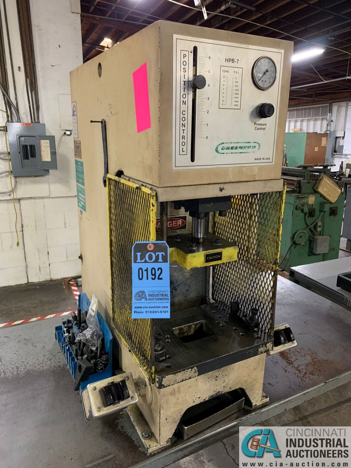 7 TON GREENERD MODEL HPB-7 HYDRAULIC PRESS; S/N OOT5953, WITH TABLE (NEW 2000)