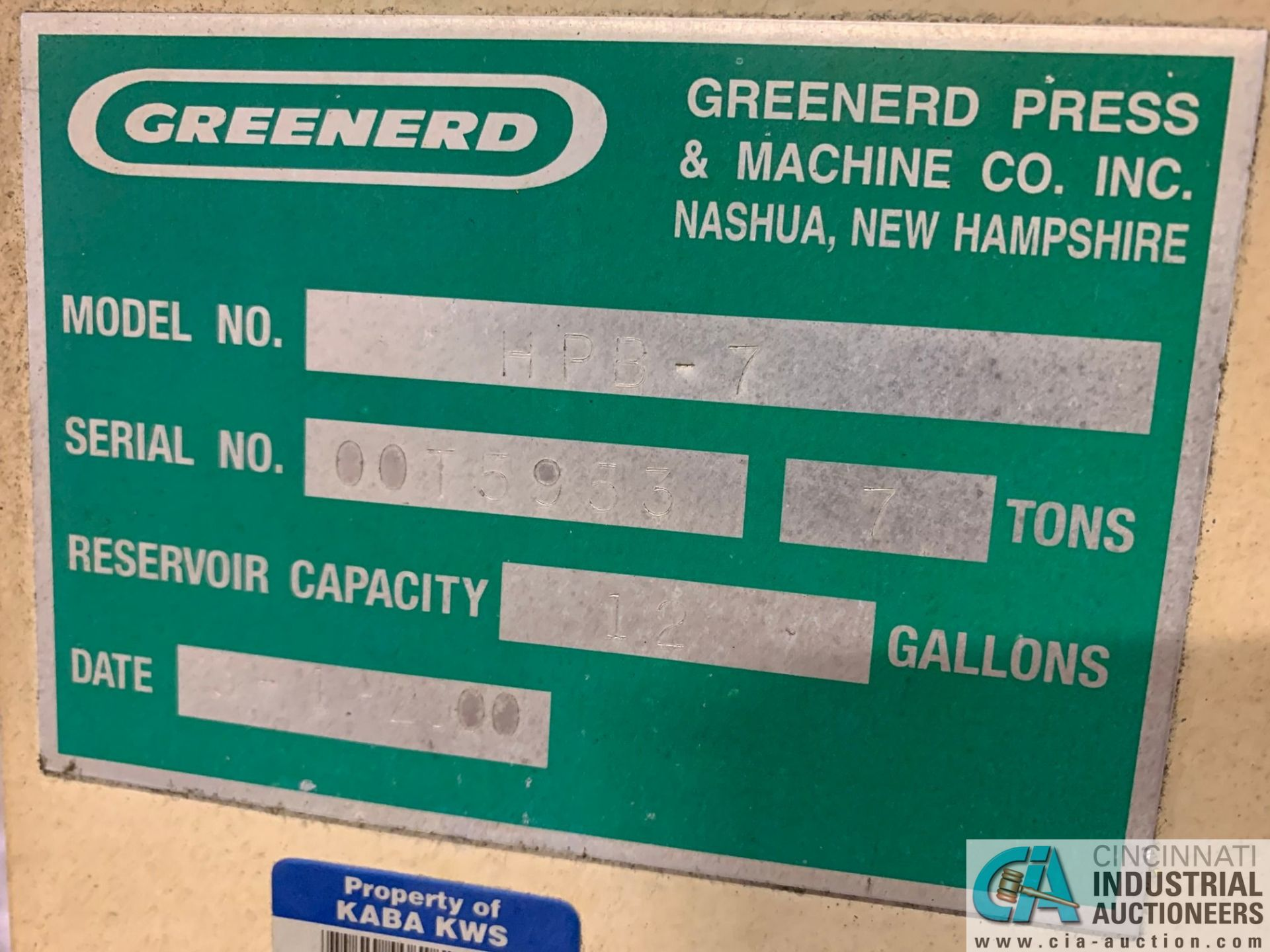 7 TON GREENERD MODEL HPB-7 HYDRAULIC PRESS; S/N OOT5953, WITH TABLE (NEW 2000) - Image 2 of 6