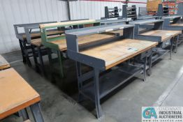 "30"" X 60"" X 34"" HIGH STEEL FRAME MAPLE TOP WORKSTATIONS WITH MOUNTED RISERS"