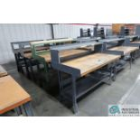 """30"""" X 60"""" X 34"""" HIGH STEEL FRAME MAPLE TOP WORKSTATIONS WITH MOUNTED RISERS"""