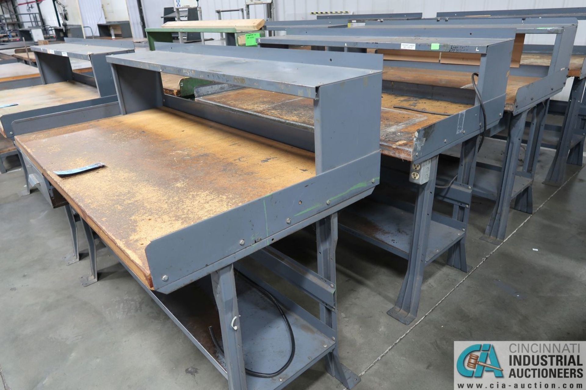 """30"""" X 60"""" X 34"""" HIGH STEEL FRAME MAPLE TOP WORKSTATIONS WITH MOUNTED RISERS - Image 2 of 4"""