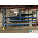 "Sections Blue Rack Along Wall, (6) Uprights, (38) Beams Total, (6) 10' x 42"" Uprights, (24) 10' x 4"""