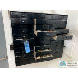 (LOT) 30-DRAWER WALL MOUNT CABINET WITH MAINTENANCE PARTS