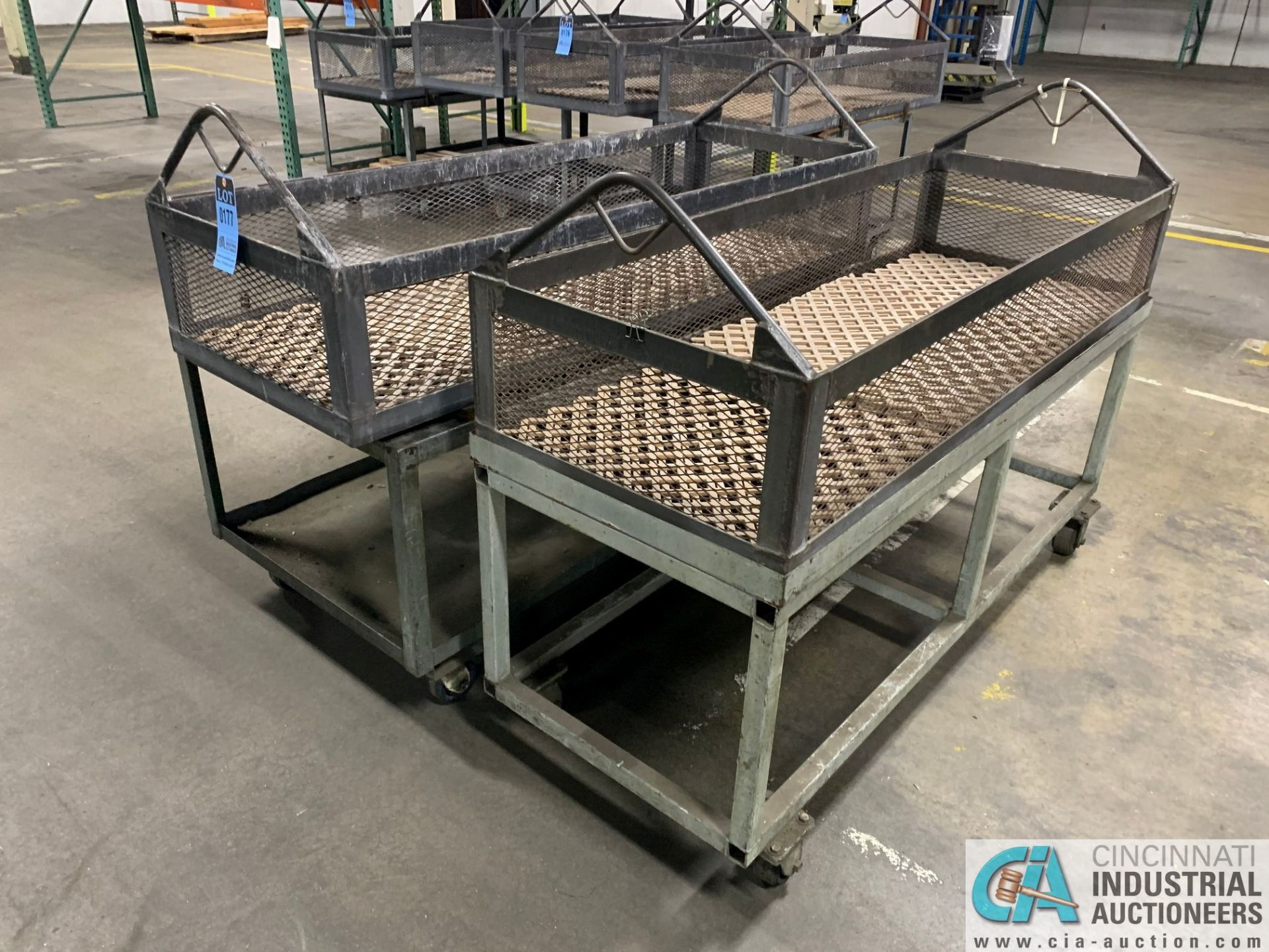 "66"" X 24"" X 12"" DEEP STEEL BASKETS WITH CARTS - Image 2 of 3"