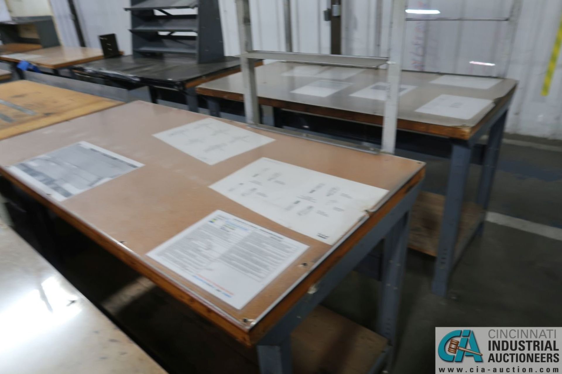 """30"""" X 72"""" ADJUSTABLE HEIGHT STEEL FRAME MAPLE TOP WORK STATIONS - Image 3 of 3"""