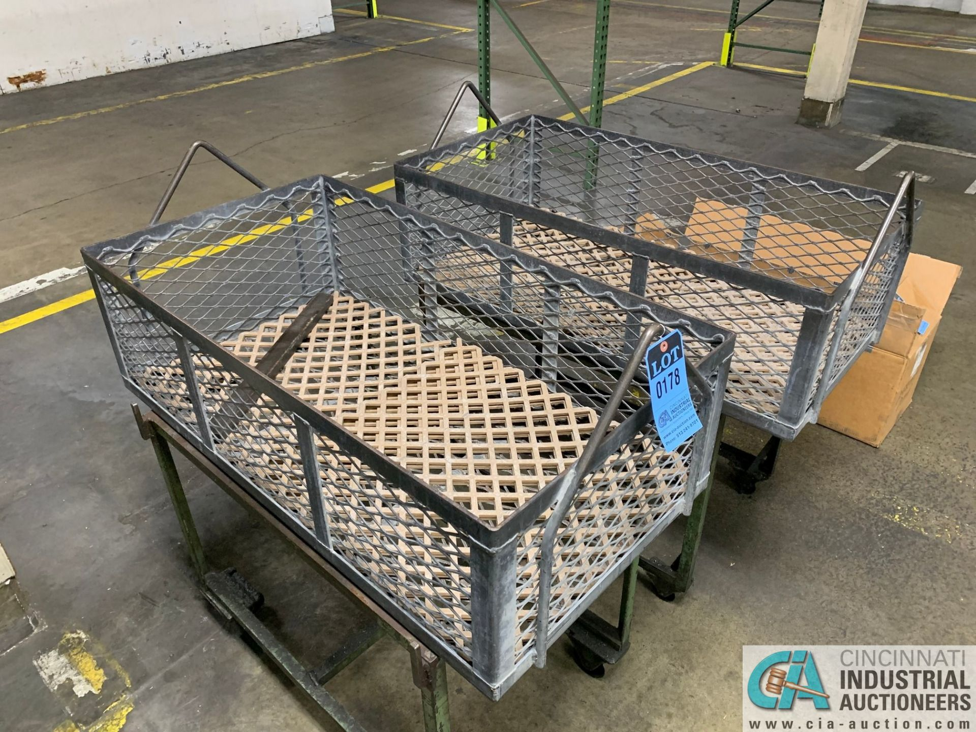 """24"""" X 45"""" X 14"""" DEEP STEEL BASKETS WITH CARTS - Image 3 of 3"""
