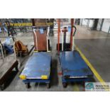 "HYDRAULIC DIE LIFT CARTS; 1,650 LB. CAPACITY GLOBAL SCISSOR STYLE MANUAL, 20"" X 40"" PLATFORMS"