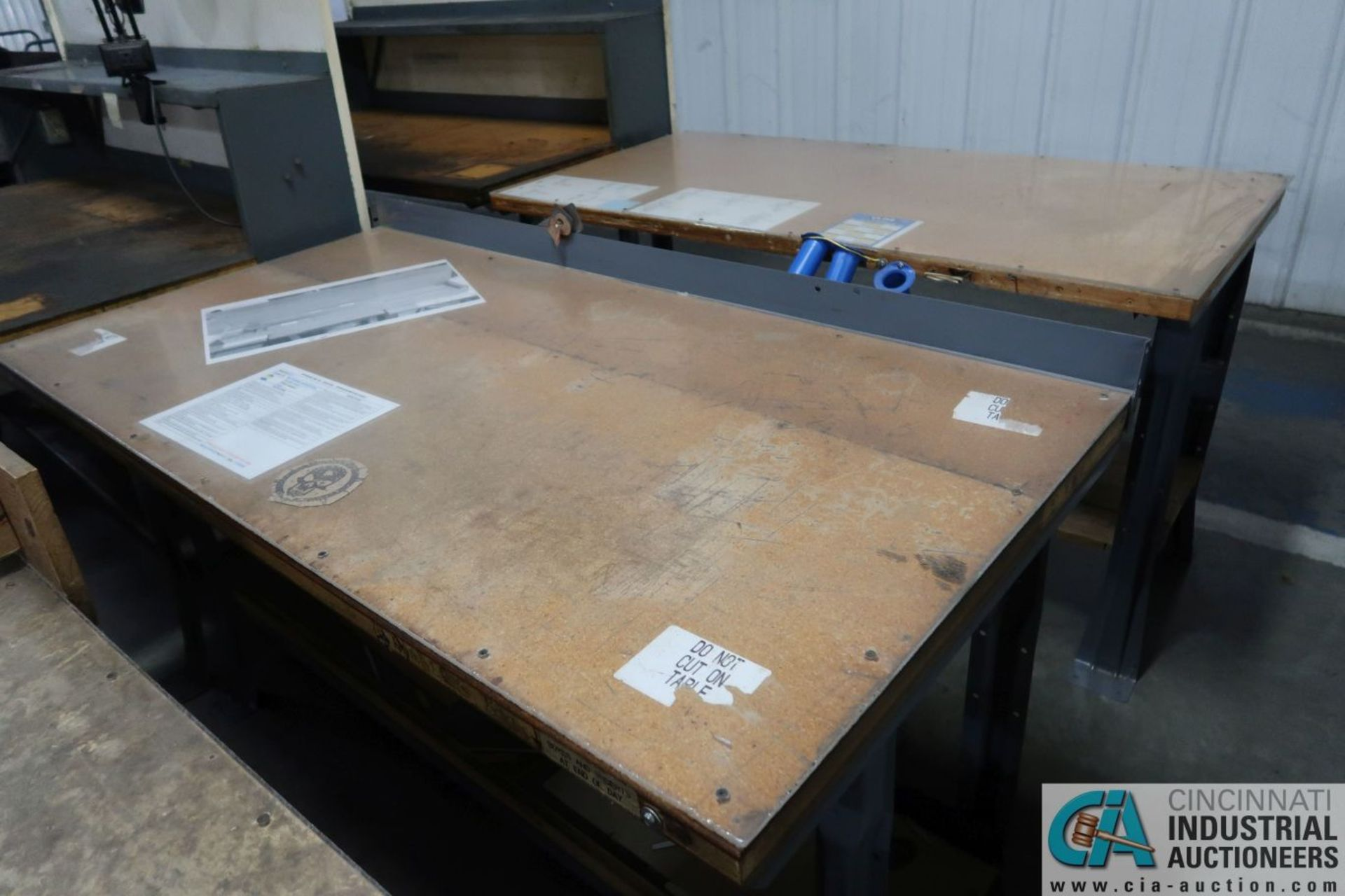 "30"" X 72"" X 34"" HIGH STEEL FRAME MAPLE TOP WORK STATIONS - Image 3 of 3"