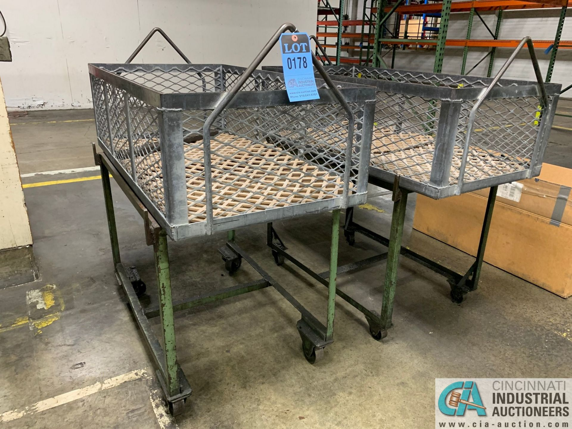 """24"""" X 45"""" X 14"""" DEEP STEEL BASKETS WITH CARTS - Image 2 of 3"""