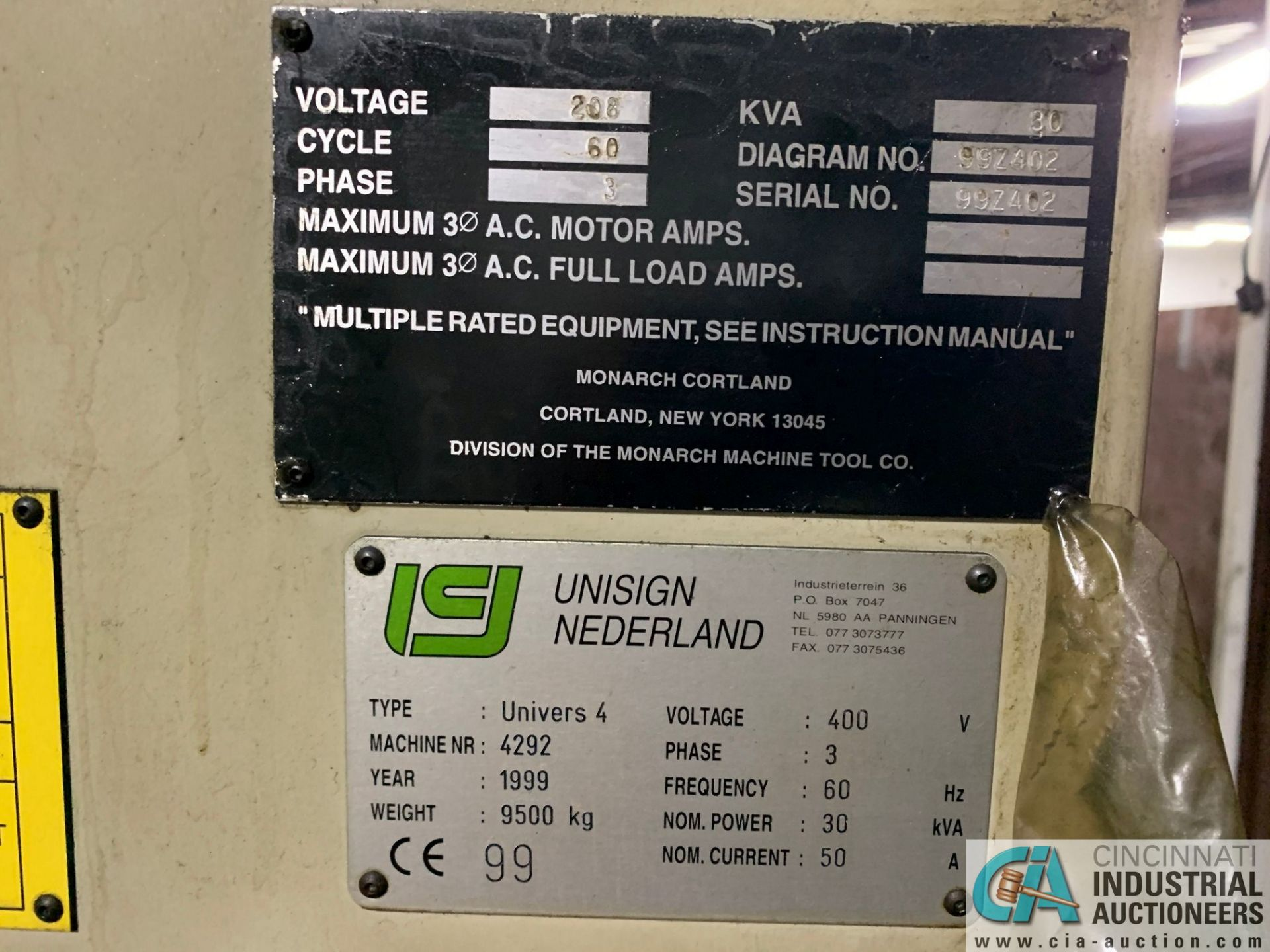 MONARCH UNISIGN TYPE UNIVERS 4 ZONALL 4 CNC VERTICAL MACHINING CENTER; S/N 99Z402, NO. 4292, - Image 6 of 11