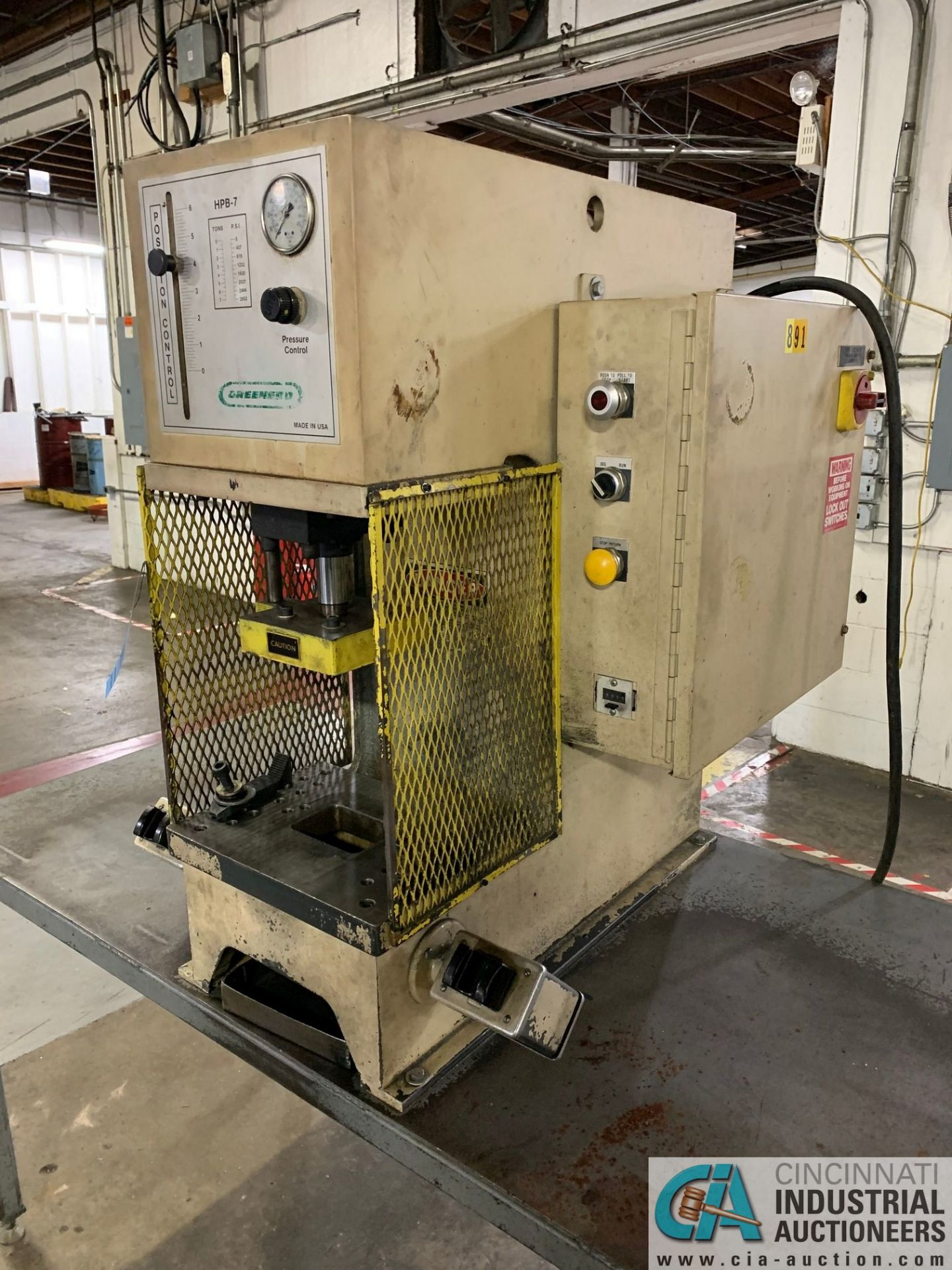 7 TON GREENERD MODEL HPB-7 HYDRAULIC PRESS; S/N OOT5953, WITH TABLE (NEW 2000) - Image 3 of 6