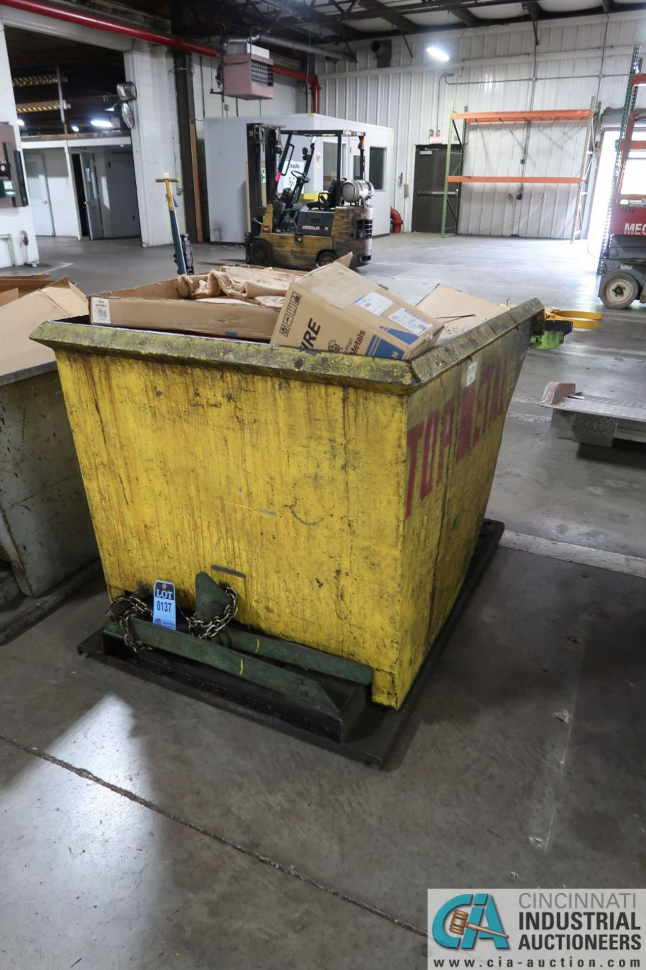 1 CUBIC YARD (APPROX.) SELF DUMPING HOPPER **DELAYED REMOVAL - PICKUP 10-9-2020**