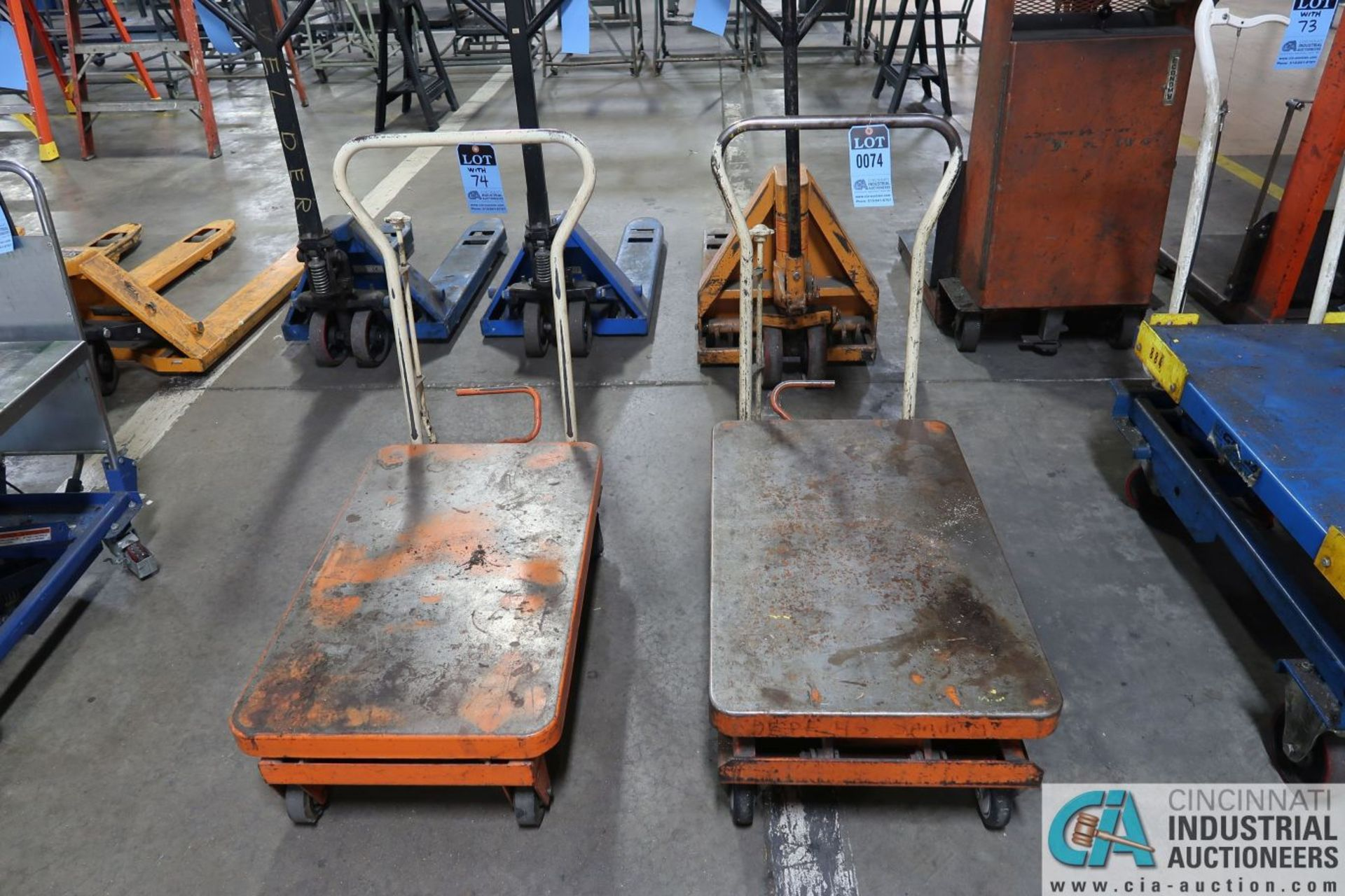 "HYDRAULIC DIE LIFT CARTS; 550 LB. CAPACITY BISHAMON SCISSOR TYPE MANUAL, 20"" X 32"" PLATFORMS"