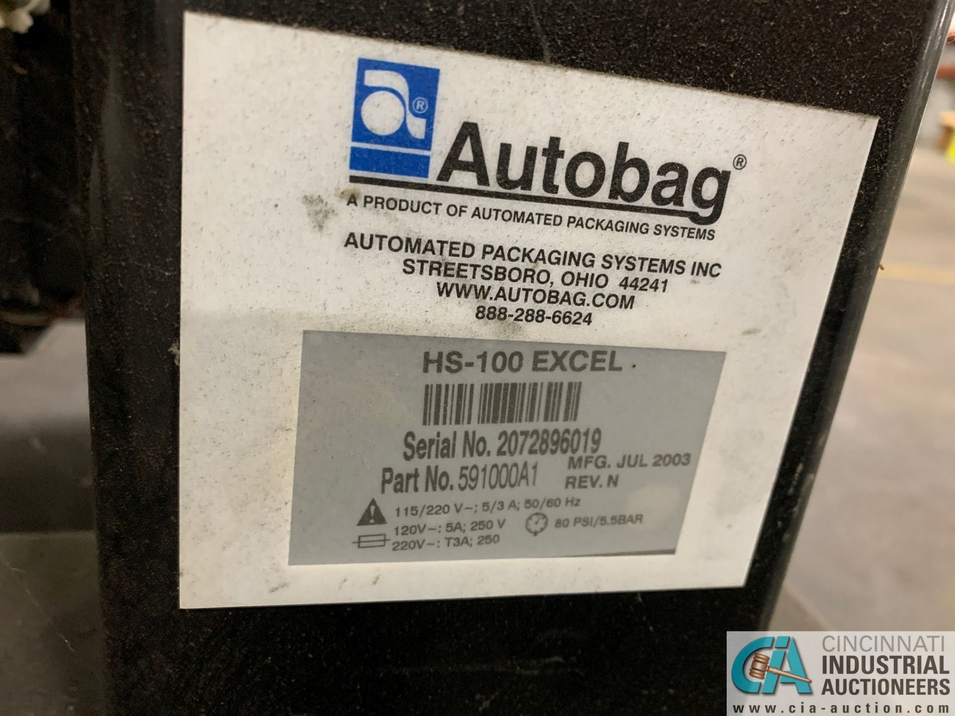 AUTOBAG MODEL HS-100 EXCEL POLY BAGGING MACHINE; S/N 2072896019, WITH P1-4000 AUTO LABEL MACHINE ( - Image 3 of 7