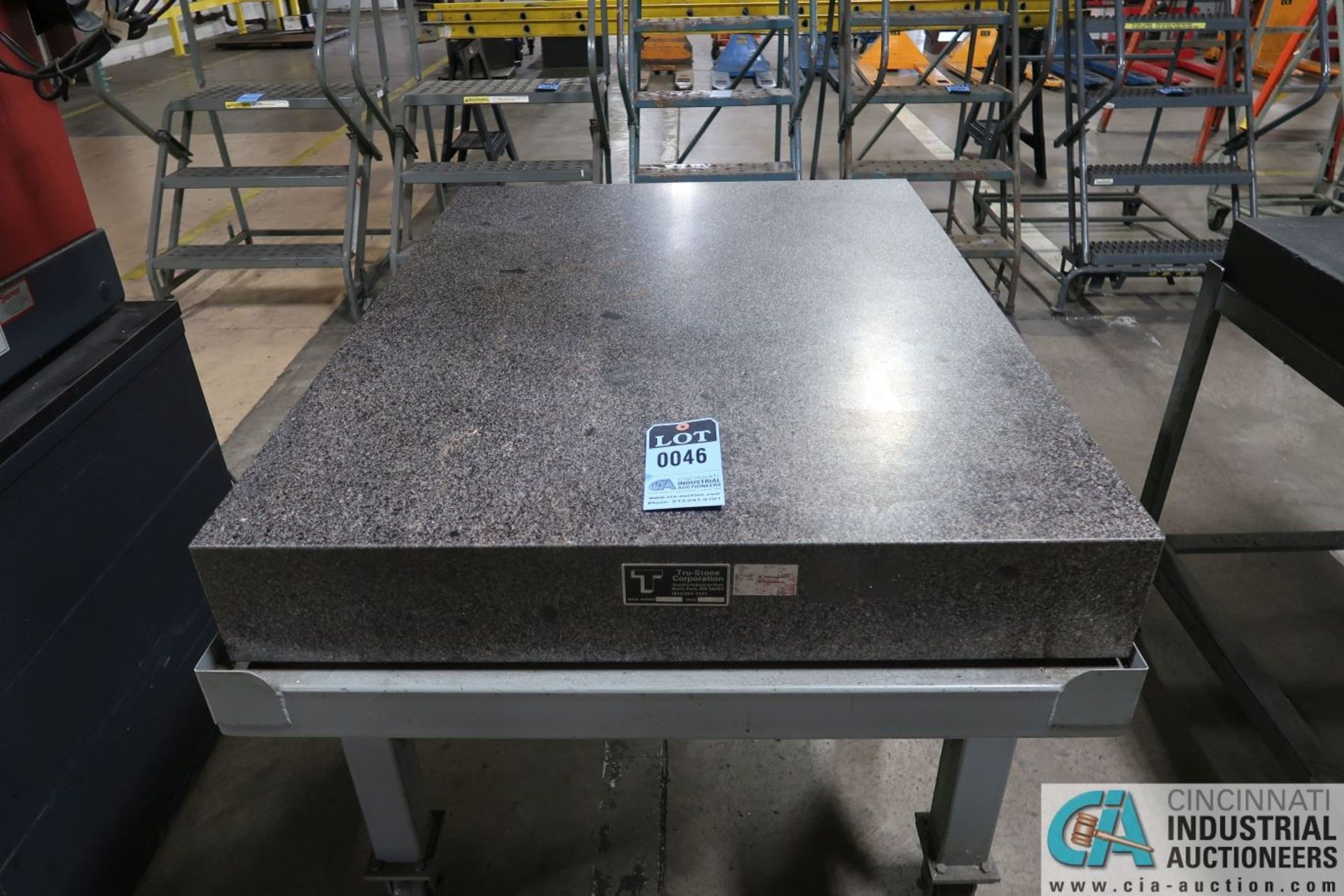 """36"""" X 48"""" X 6"""" THICK TRU-STONE BLACK GRANITE SURFACE PLATE WITH PORTABLE CART - Image 2 of 3"""