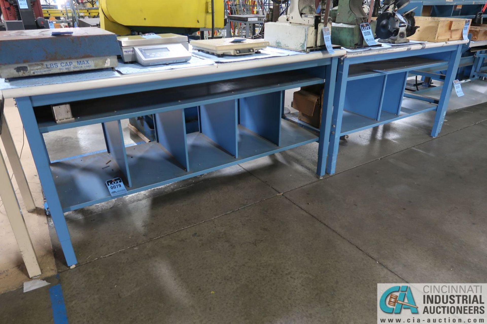 """ADJUSTABLE HEIGHT STEEL FRAME LAMINATED TOP WORK STATIONS, (1) 30"""" X 72"""" AND (1) 30"""" X 60"""""""