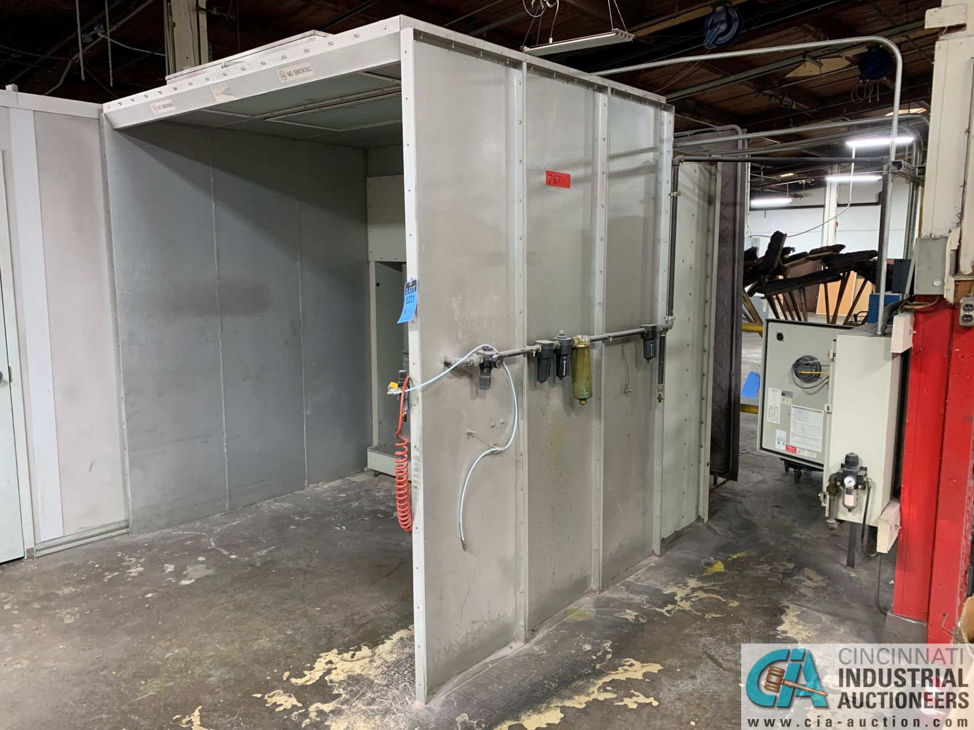 "8' X 6' X 90"" DEIMCO PWI-08-08-06-2-3K POWDER COAT BOOTH - Approx. $30,000 replacement cost"