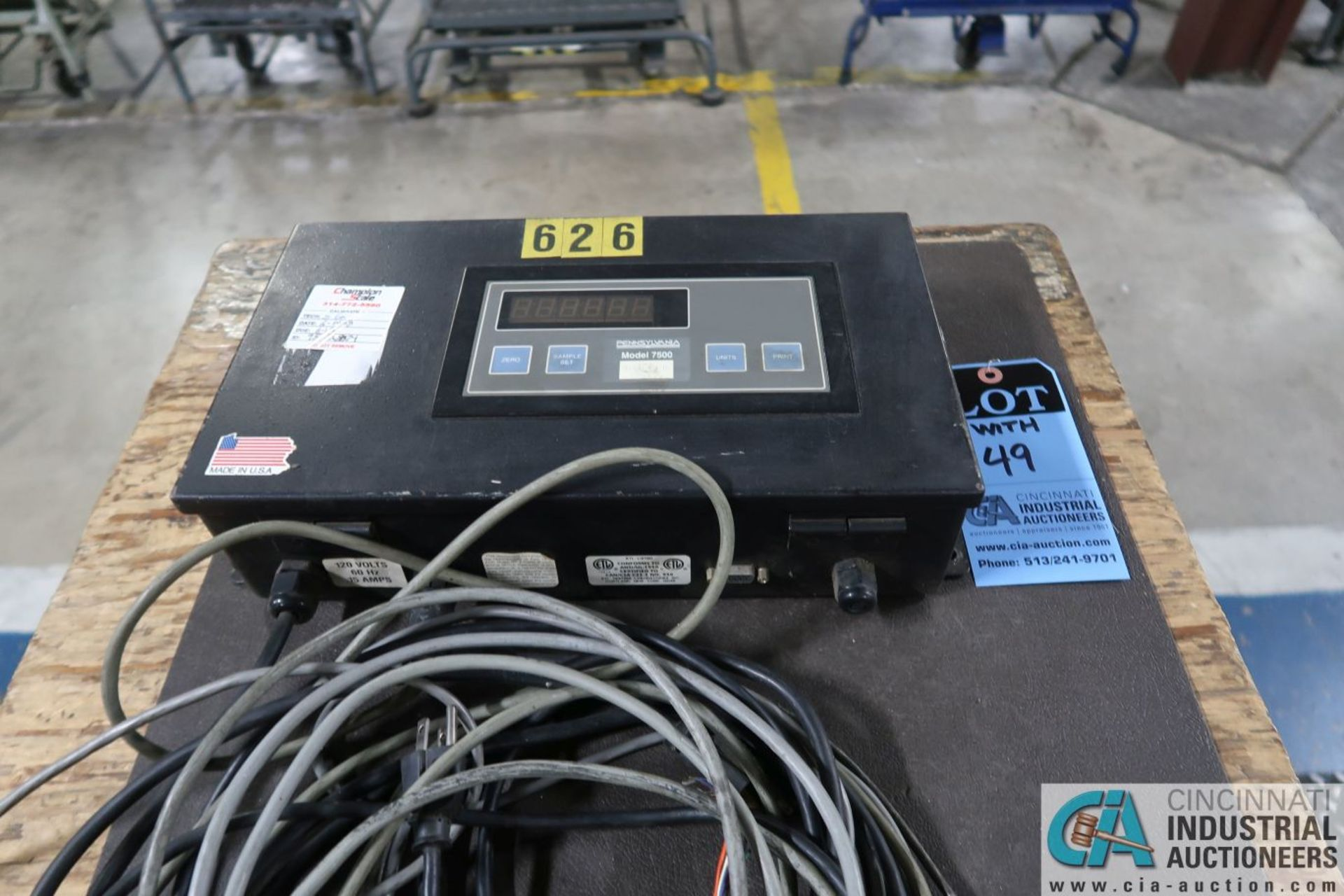 """5,000 LB. CAPACITY PENNSYLVANIA MODEL 6600 48"""" X 48"""" PLATFORM SCALE WITH GSE 574 BENCH COUNTING - Image 3 of 4"""