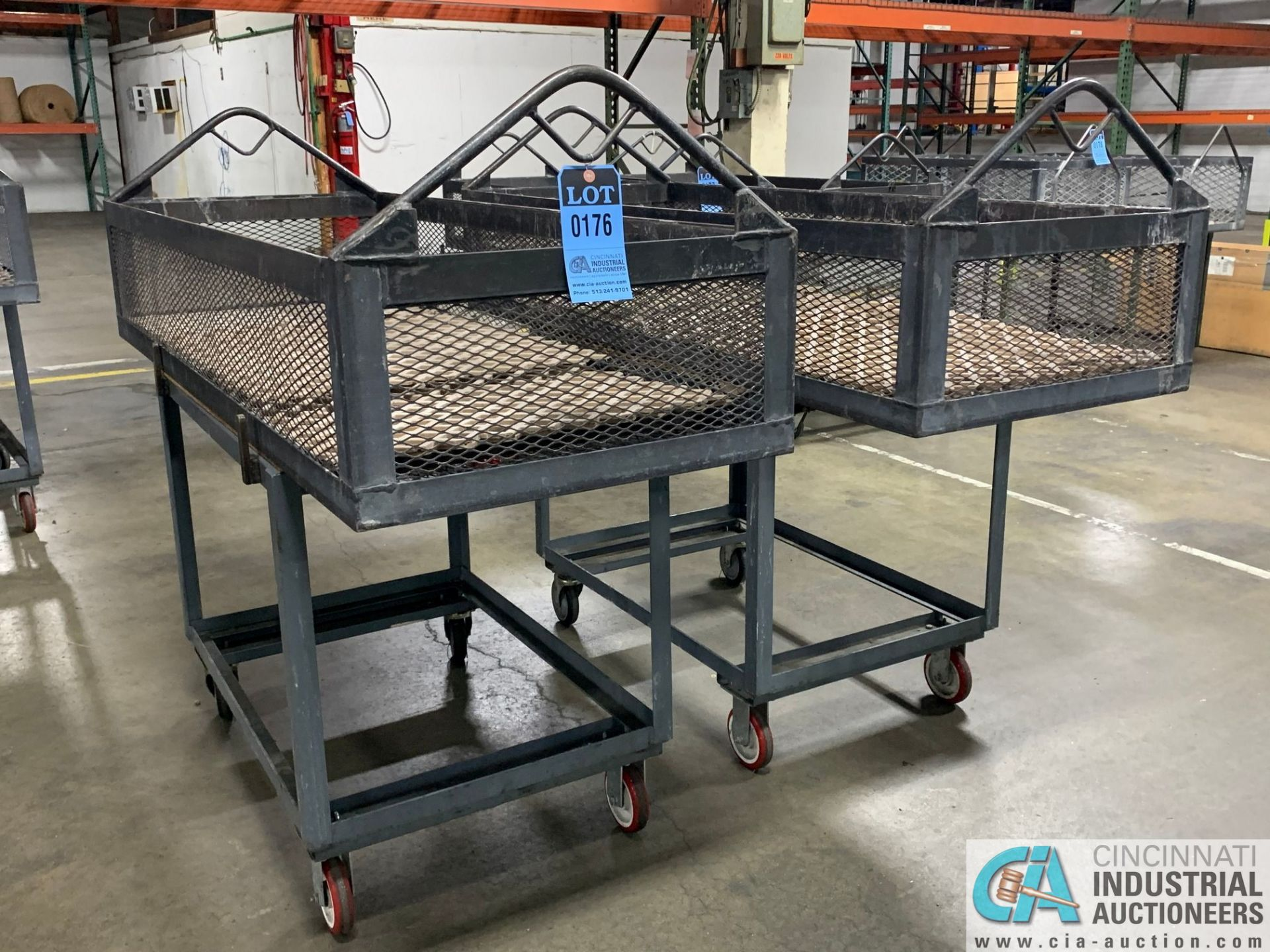 "66"" X 24"" X 12"" DEEP STEEL BASKETS WITH CARTS - Image 2 of 2"