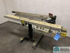 "4"" WIDE X 72"" MAXIMER CLEATED POWER CONVEYOR WITH DORNER 2200 SERIES 1-1/2"" X 60"" CONVEYOR"