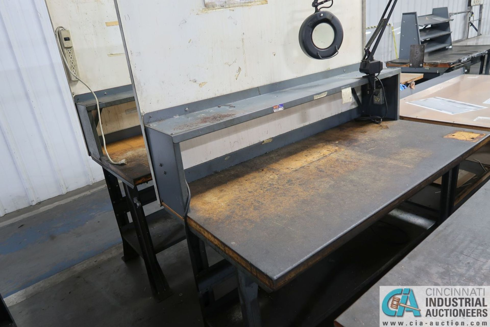 """30"""" X 72"""" X 34"""" HIGH STEEL FRAME MAPLE TOP WORK STATIONS - Image 3 of 4"""