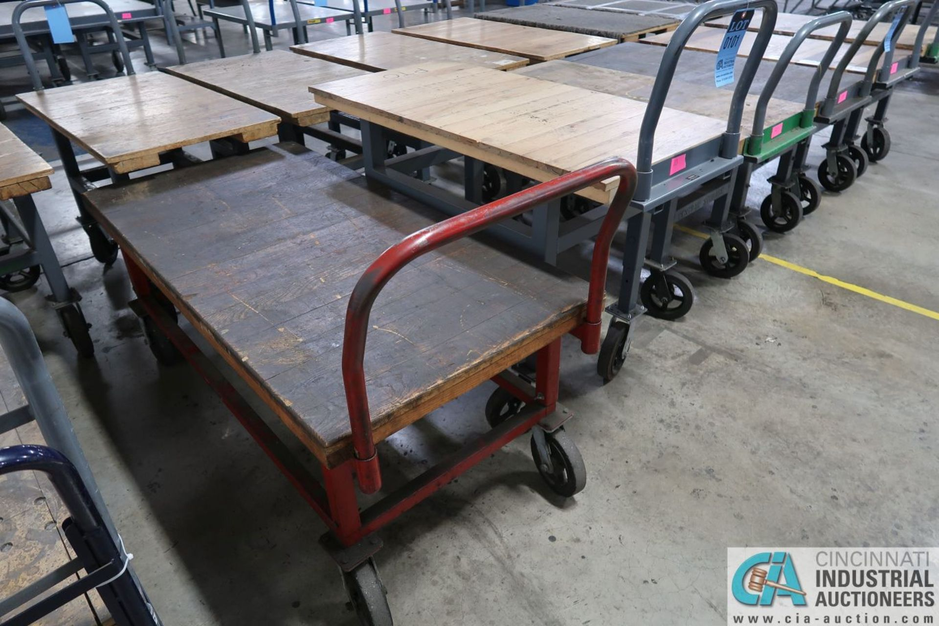 "STEEL FRAME HARDWOOD DECK CARTS, (1) 24"" X 48"" ADJUSTABLE HEIGHT AND (1) 30"" X 60"" X 26"" HIGH"