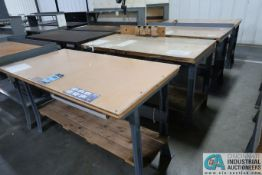 "30"" X 72"" X 34"" HIGH STEEL FRAME MAPLE TOP WORK STATIONS"