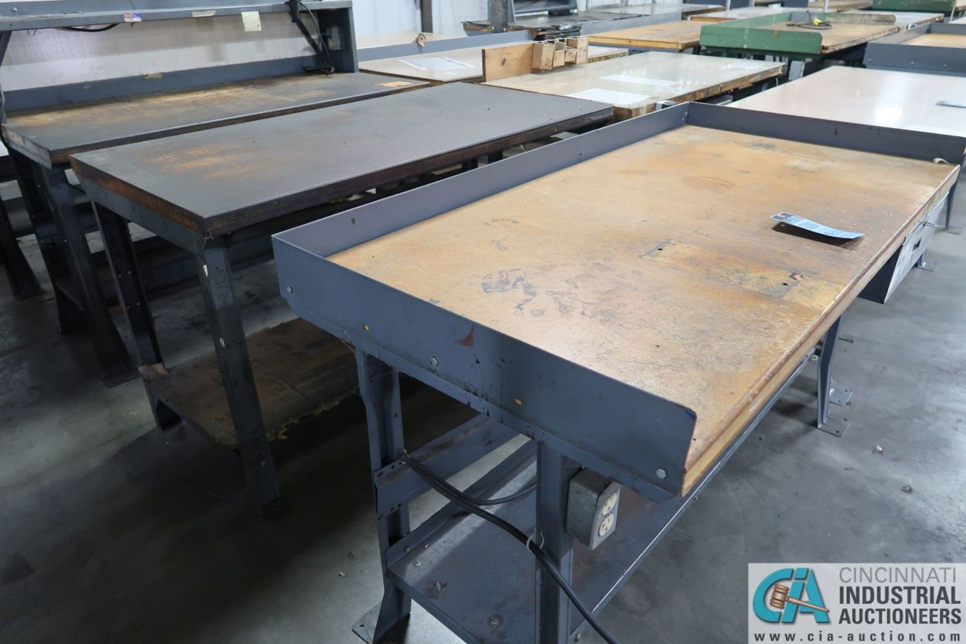 """30"""" X 72"""" X 34"""" HIGH STEEL FRAME MAPLE TOP WORK STATIONS - Image 2 of 4"""