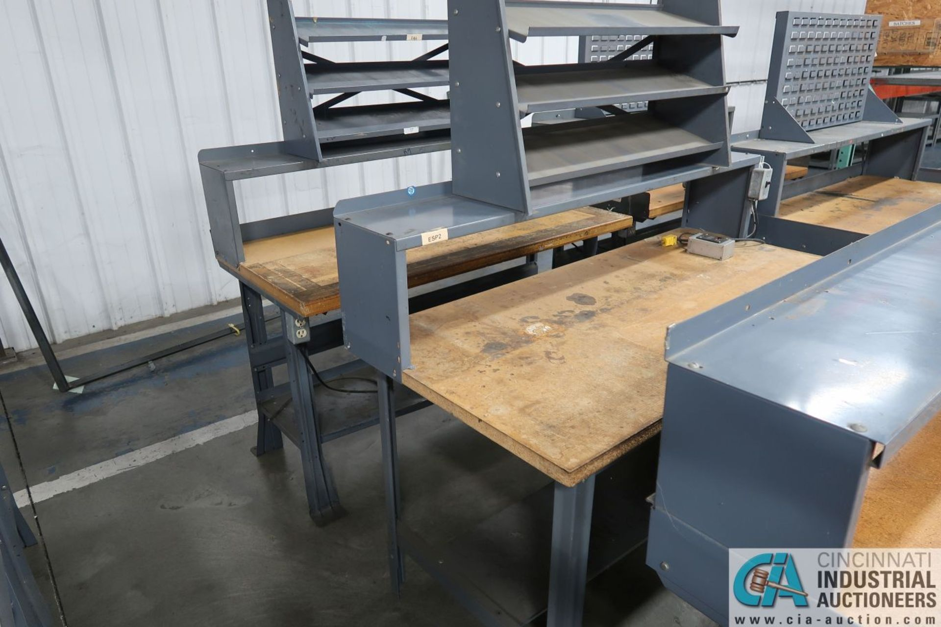 "30"" X 60"" X 34"" HIGH STEEL FRAME MAPLE TOP WORKSTATIONS WITH MOUNTED RISERS - Image 3 of 3"