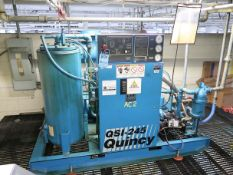 **50 HP QUINCY MODEL QSI-245 SKID MOUNTED ROTARY SCREW AIR COMPRESSOR; S/N 97139, 76,995 HOURS