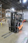 **3,500 LB. TOYOTA MODEL 7FGCSU20 LP GAS SOLID TIRE LIFT TRUCK; S/N 66110-0338, 3-STAGE MAST, 82""