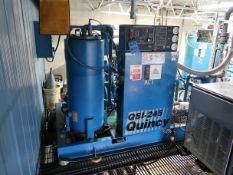 **50 HP QUINCY MODEL QSI-245 SKID MOUNTED ROTARY SCREW AIR COMPRESSOR; S/N 92419H, 87,405 HOURS