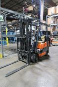 "3,500 LB. TOYOTA MODEL 42-6FGCU18 LP GAS SOLID TIRE LIFT TRUCK; S/N 67367, 3-STAGE MAST, 82"" MAST"
