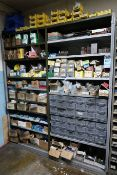 SHELVES W/ MISC. HARDWARE, TOOLING, SPRINGS, SHIMS