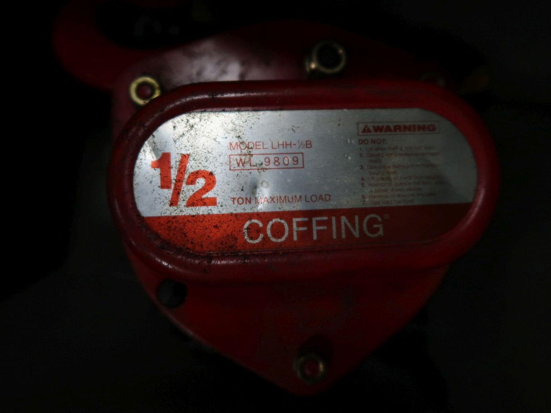 1/2 TON COFFING MANUAL CHAIN HOIST - Image 2 of 3