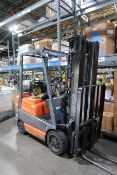 "**3,500 LB. TOYOTA MODEL 42-6FGCU18 LP GAS SOLID TIRE LIFT TRUCK; S/N 60801, 3-STAGE MAST, 82"" MAST"