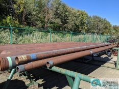 """(LOT) STEEL PIPE AND CYLINDERS ON RACK, (11) 20' LENS X 8"""" DIAMETER CYLINDERS AND ASSORTED PIPE **"""