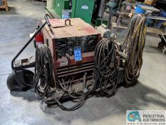 250 AMP LINCOLN MODEL TIG 250/250 WELDER; S/N 533770, MOUNTED ON CART W/ LEADS & AIRCO CHILLER (8635