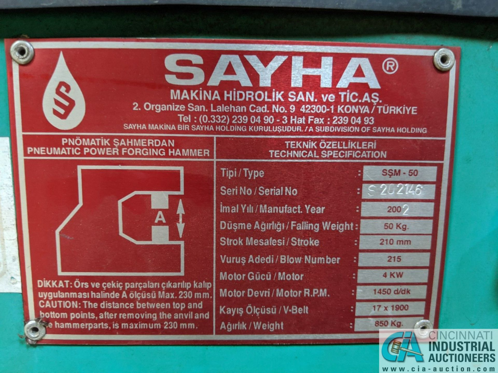 SAYHA MODEL SSM-50 POWERED FORGING HAMMER; S/N S202146, 50-KG FALLING WEIGHT, 210 MM STROKE, 4-KM - Image 7 of 7